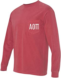 Print Bar AZ Alpha Omicron PI AOII Sorority Comfort Colors Pocket Long Sleeve Shirt