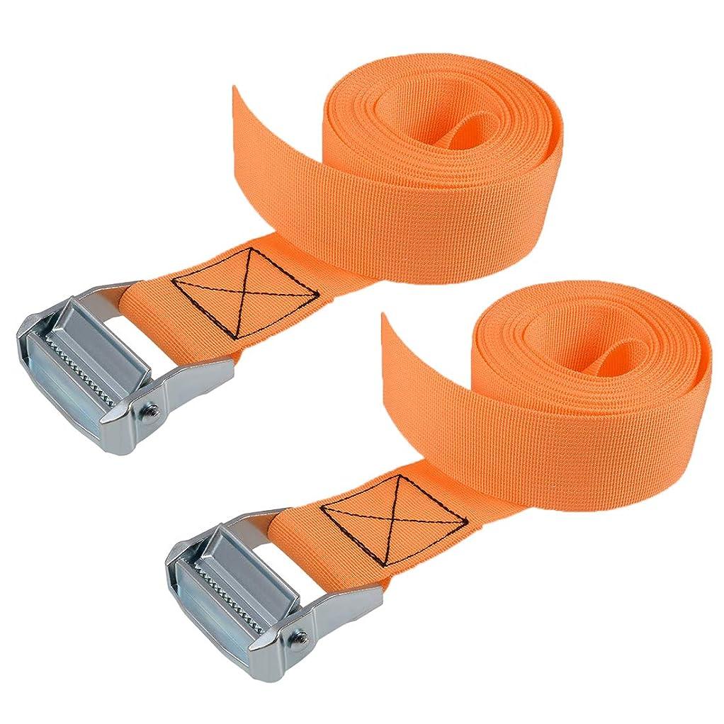 因子カッター地下室uxcell 荷物ストラップ ラチェット式 ベルト 荷物固定ロープ 荷物落下防止 オレンジ ポリプロピレン 亜鉛合金 カムロックバックル付き 500Kg作業負荷 4Mx5cm 2個入り