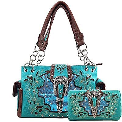 Justin West Floral Tooled Leather Studs Rhinestone Silver Buckle Concealed Carry Purse Handbag (Turquoise Handbag and Wallet)