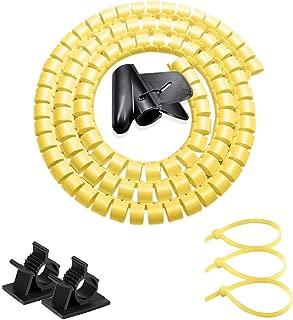 ケーブル カバー ペットコードカバー、イエロースパイラル ケーブル まとめ チューブ 防水 配線 隠し、犬と猫 電気コード 噛む 防止、VIWIEU 内経22mm 長さ1.5m テレビ コードまとめる 昇降デスク用 繰り返し利用可能 便利なパソコン電源収納 調節できる、1個配線スッキリカバー(黄色) と 2個無料ケーブルクリップと3本結束バンド 電源タップ収容 固定 保護 汚れ防止