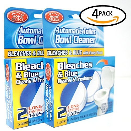 HOME SELECT Automatic Toilet Bowl Cleaner With Bleach,Keep the Air Freshener Bathroom (Blue,4Pack 2Tablets 3.5oz)