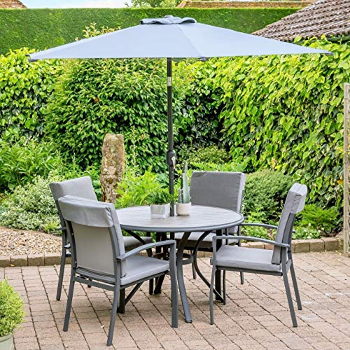 Turin 4 Seater Garden Dining Set with 2.5m Parasol
