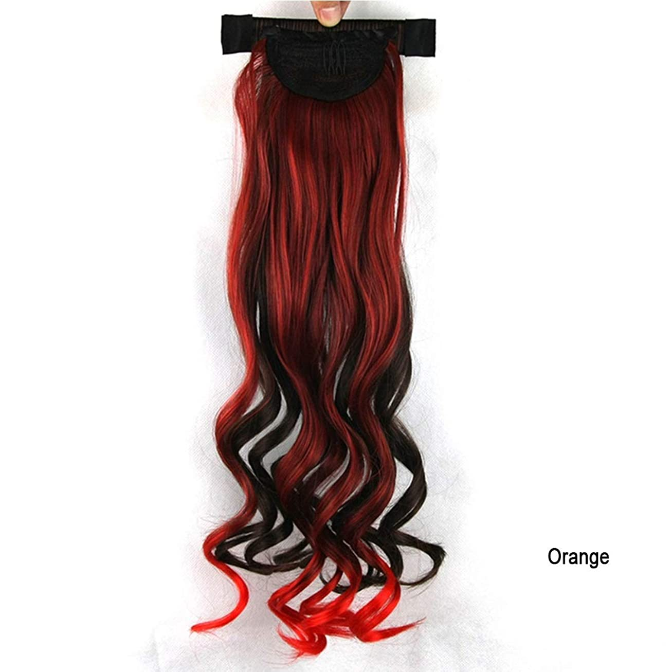 徐々に頭イデオロギーKoloeplf 女の子 ヨーロッパとアメリカ ポニーテール 混合色 巻き髪 かつら 高温抵抗 自然 軽量 (Color : オレンジ)
