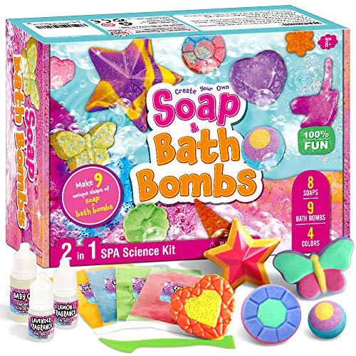 XXTOYS Soap & Bath Bomb Making Kit – 2 in 1 Spa Science Kits for Kids Age 5-8 – DIY 9 Bath Bomb Kit for Girls, 8 Soap Making Kit – Crafts Kit, Great STEM Science Gift for Girls & Boys