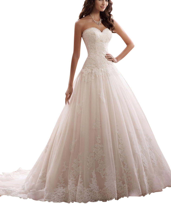 JoyVany Lace Elegant Aline Sweetheart Appliqued Tulle Bridal Wedding Dress 2018