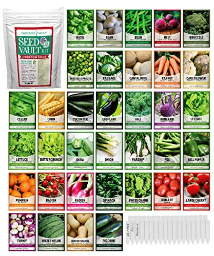 Survival Vegetable Seeds Garden Kit Over 16,000 Seeds Non-GMO and Heirloom, Great for Emergency Bugout Survival Gear 35 Varieties Seeds for Planting Vegetables 35 Free Plant Markers Gardeners Basics