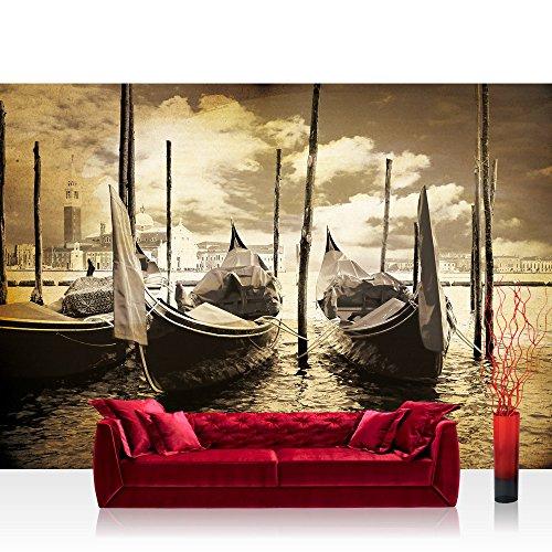 Fototapete 254x184 cm PREMIUM Wand Foto Tapete Wand Bild Papiertapete - Venedig Tapete Gondeln Venedig Vintage Wasser sepia - no. 2552
