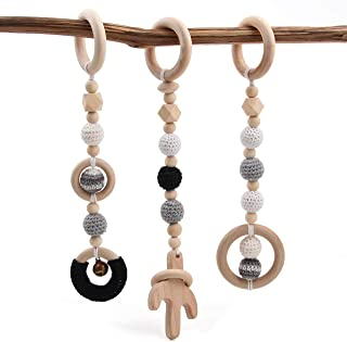 Baby Wooden Toys Play Gym Set of 3 Child Activity Organic Pendant Hanging Toy Dangling Teething Soother- Black, Black and White,Cactus
