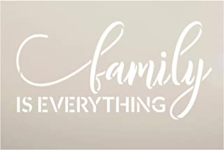 Family is Everything Stencil by StudioR12 | DIY Modern Country Farmhouse Home Decor | Inspirational Cursive Word Art | Cra...