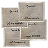 I Heart Home Place Mats for Tables  Set of 4 Burlap Table Mats  Cute Placemats for Dining Table  Whimsical Food Related Wordings  Rustic Farmhouse Design  Ideal Dining Table Mats Set
