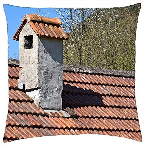 Pamela Hill Kissenbezüge Fälle Hausdach Backstein Schornstein Kamin Architektur für Schlafsofa Home Decoration, 18 x 18 Zoll