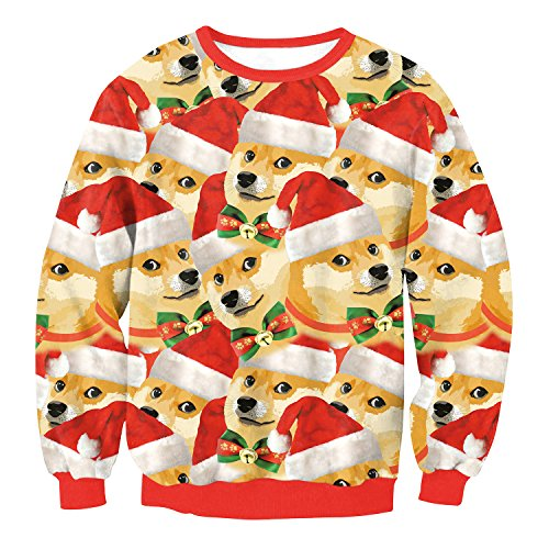 URVIP Unisex 3D Graphic Ugly Christmas Sweater Funny Crew Neck Pullover Sweatshirt SWYL017 S