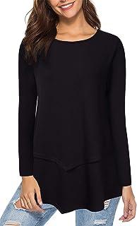 ea4883739c9 AMZ PLUS Casual T-Shirt Scoop Neck Long Sleeve Asymmetrical Hem Plus Size  Blouse Top