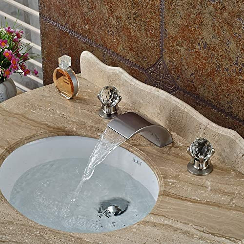 U-Enjoy Kronleuchter Gebürstetes Verbreitet Nickel-Badezimmer-Hahn-Hochwertiger Romen Basin Wasserfall Spout Vanfity Mixer Tapsink Kostenloser Versand