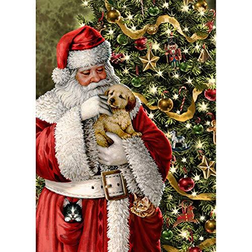 Kit de pintura de diamantes 5D por números, Papá Noel gato y perro árbol de Navidad de invierno de 30 x 40 cm, lienzo con diamante de punto de cruz (cachorro)