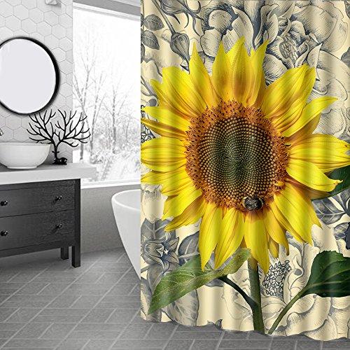 AmDxD Rideau Douche Polyester Fleurs et Papillons Rideau Douche Blanc Rose Rideau de Baignoire 90x180CM