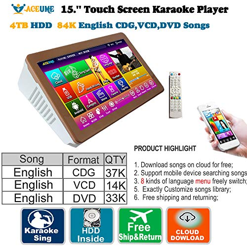 For Sale! 4TB HDD 84K English Songs,15.6'' Touch Screen Karaoke Player,Select Songs Both Via Monitor...