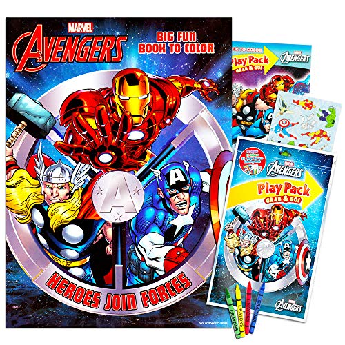 Marvel Avengers Coloring Book and Avengers Play Set with Stickers and Crayons!
