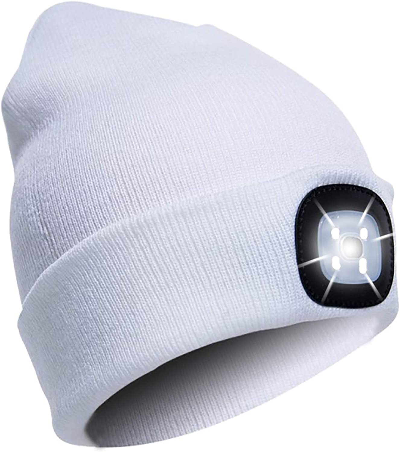 Unisex LED Lighted Beanie Cap USB Rechargeable Crocheted Hats Built in LED Light