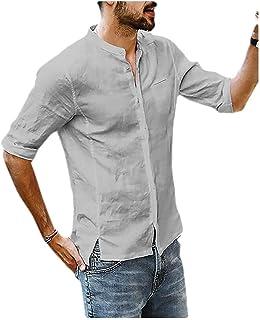 neveraway Men Linen Pure Colour Stylish Button Short-Sleeve Fit Dress Shirts