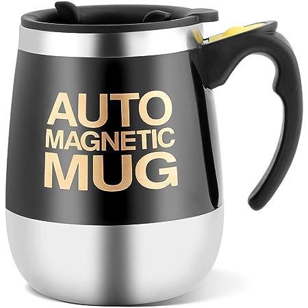 Taza de café autoagitada de acero inoxidable magnética para café/té/chocolate caliente/leche/proteína de cacao (negro)