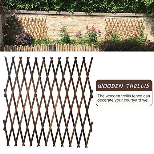 ZQYX Wooden Trellis Fence, Expanding Wood Flower Trellis Wall Plant Climbing Support Fence, 150 x 60cm(5ft x 2ft)