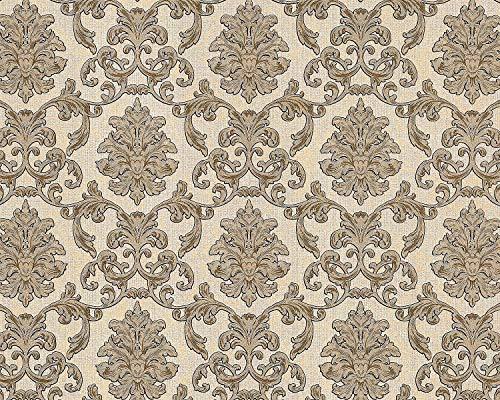 Papel pintado barroco EDEM 6001-91 Papel pintado no tejido gofrado con ornamentos destellante crema beige oro 10,65 m2