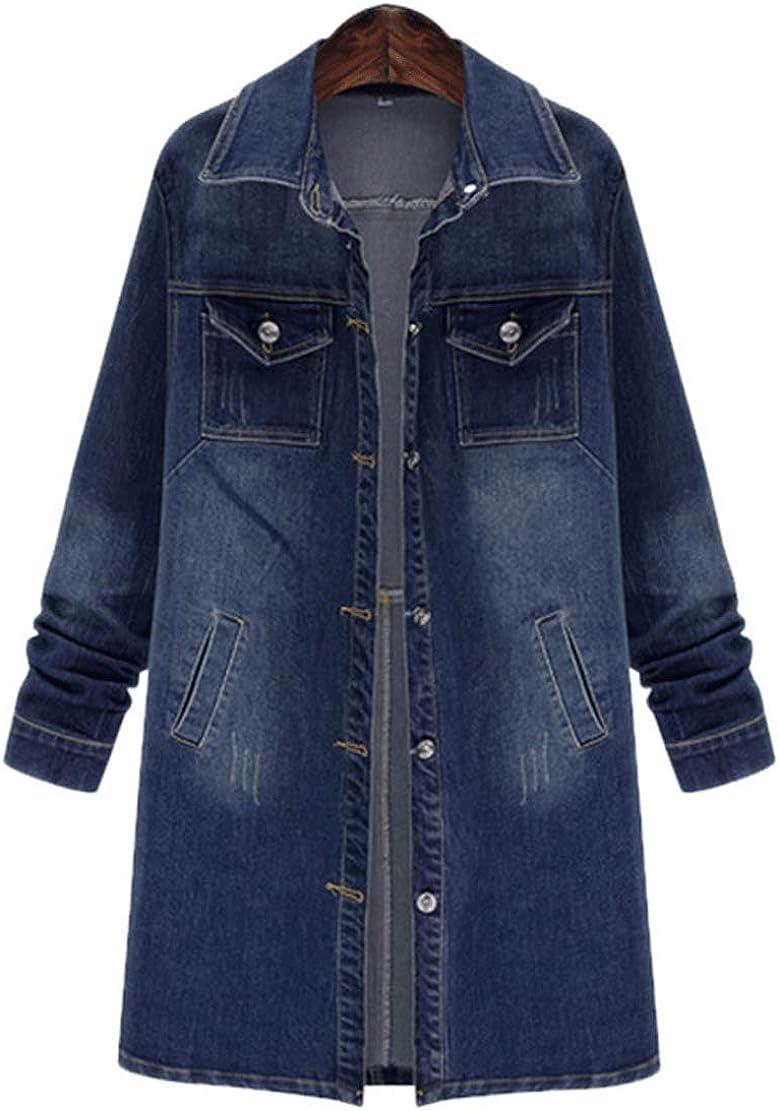 CHARTOU Womens Casual Loose Oversized Spread Collar 2-Pockets Midi-Long Denim Jacket