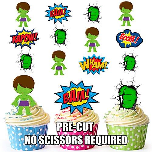 AK Giftshop PRE-CUT De Hulk Superhero - Eetbare Cupcake Toppers/Cake Decoraties (Pak van 36)