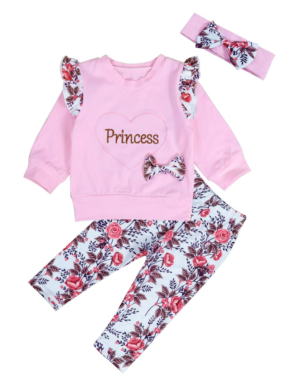 Zerototens Girls Clothes Set for 1-5 Years Old Toddler Baby Pink Long Sleeve Cartoon Swan Print Tops Striped Pants Child Sleepwear Set Kids Outfit