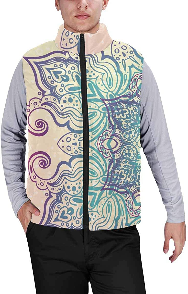 InterestPrint Men's Soft Stand Collar Jacket for Fishing Hiking Cycling Majestic Sunset in the Mountains Landscape