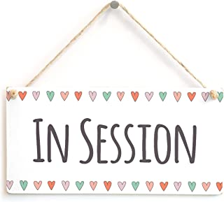 IN SESSION - Functional Hanging Home Therapist Office Door Plaque Love Hearts Sign