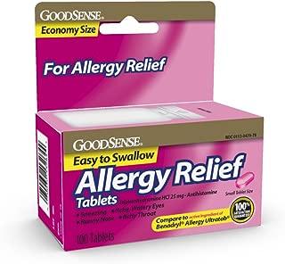 GoodSense Allergy Relief Diphenhydramine HCl 25 mg Antihistamine, 100-Count Allergy Pills