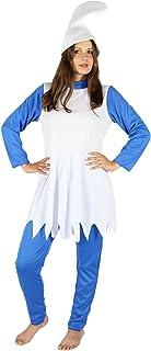 Foxxeo Disfraz de enana Azul para el Carnaval de Damas Carnaval de Cuento de Hadas Gorra Azul Blanca, Talla: L
