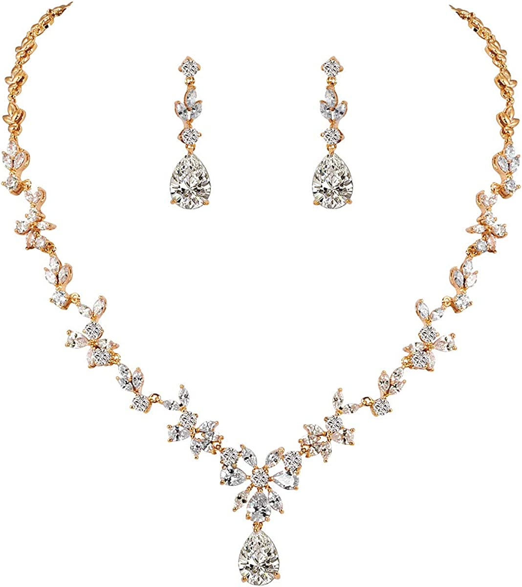 WeimanJewelry Women Cubic Zirconia Marquise Teardrop Bridal Necklace and Dangling Earring Jewelry Set for Wedding
