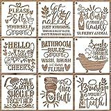 OOTSR 9 Piezas Plantillas de Pintura para Baño, Plantillas Stencil Plantillas de Dibujos para Pintar, Plantillas de Pintura Reutilizables para Baño, Decoración de Pared para el Hogar, 23x23cm