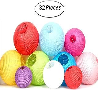 32PCS Rainbow Color Paper Lanterns 4 Colors, (Multicolor, Size of 4