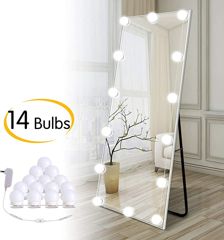 Hollywood DIY LED Vanity Lights Strip Kit With 14 Dimmable Light Bulbs For Dressing Mirror Makeup Table Mirror Plug In Vanity Mirror Lights With Power Supply White No Mirror Included