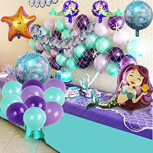 foci cozi Meerjungfrau Party Supplies Set Dekoration, Bunting Banner, Fischnetz, Luftballons für Mädchen Party unter dem Meer Thema Braut und Baby Dusche