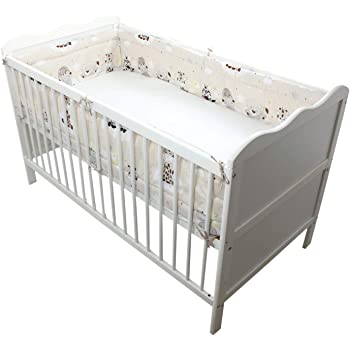 TupTam Baby Nestchen für Babybett Gemustert, Farbe: Baby Tiere Beige, Größe: 420x30cm (für Babybett 140x70)