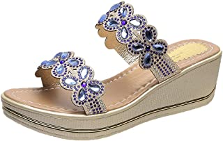 Wedges Slide Sandals,ONLYTOP Womens Comfortable Beach Shoes Bohemian Rhinestone Beaded Flip Flops Open Toe Sandals