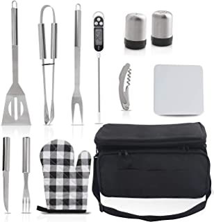 grilljoy 12PCS BBQ Grill Accessories Tools Set, Stainless Steel Barbecue Accessories with Insulated Cooler Bag for Smoker/Camping/Kitchen, Best Grilling Utensil for Men Women with Meat Thermometer