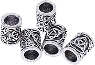 Prettyia 5 Pieces Antique Silver Norse Viking Rune Beads For Hair Beard DIY Jewelry Hair Paracord Pendants & Bracelets