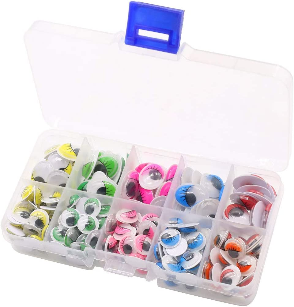 160pcs Googly Wiggle Eyes Self Adhesive, for Craft Sticker Multi Colors for DIY Arts Craft Supplies Party Decoration