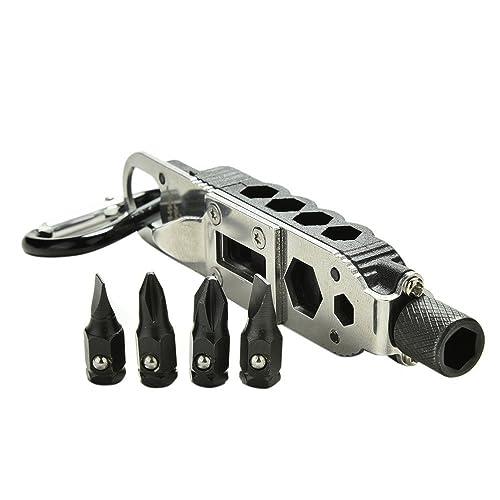 Outil multi-usage MCHSHOP EDC clef à molette, tournevis, ouvreur, porte-clefs, outil de survie avec éclairage LED, outil de voyage réglable