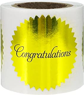 Congratulations Stickers Metallic Gold Seals 1.5 Inch 100 Adhesive Labels