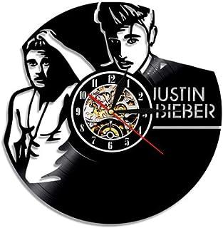 CNLSZM Reloj De Pared De Registro De Vinilo 3D Reloj De Vinilo Retro Justin Bieber Theme Art Mute Reloj De Pared Decoración del Hogar Regalo-with LED