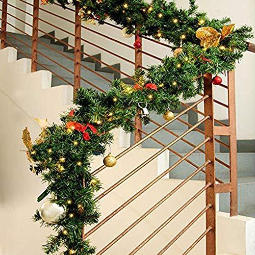 LAOOWANG 2,7 M Weihnachtsgirlanden Dekoration Rattan, Weihnachtsbaum Tannenzweige Rattan Green Pine Garland Künstliche Tannenkranz Weihnachtsbaum Ornament