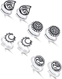Yellow Chimes Silver Oxidized 4 Pairs Combo German Silver by Yellow Chimes Toe Ring for Women (Oxidized Silver) (YCFJTR-CM...