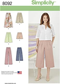 Simplicity 8092 Women's Skirts, Pants, Culottes, and Shorts Sewing Patterns, Sizes 14-22